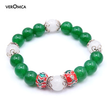 VEROMCA Classic Green Malay Bead Bracelet Christmas Gifts Fashion Women's Bracelets New Arrivals Physical Store Hot Selling(China)