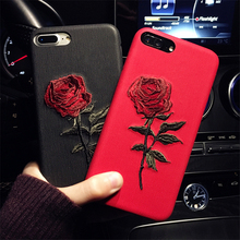 Embroidery Rose Flower Phone Case For Apple iphone 7 8 Luxury Imitation leather Back Covers Art Phone Accessories Capa for i7 i8