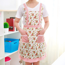 1pcs 72.5**67.5cm Women Restaurant Home Kitchen apron Flower Printed Pocket Lace Cooking Cotton Apron