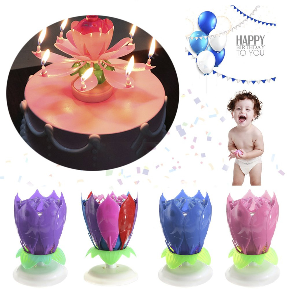 Romantic Birthday Candle 14 Musical Spinning Lotus Flower Candles Rotating Party Festival Gift Light Pink/Blue/Purple/Colorful