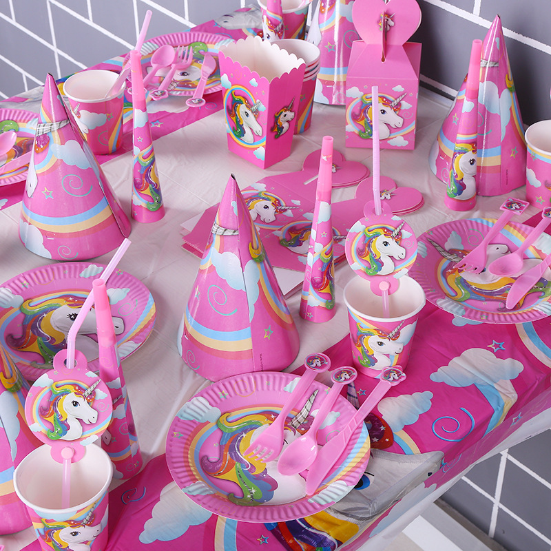 Unicorn Tableware Kids Girl Favor Happy Birthday Party Decor Banner Candy Bags