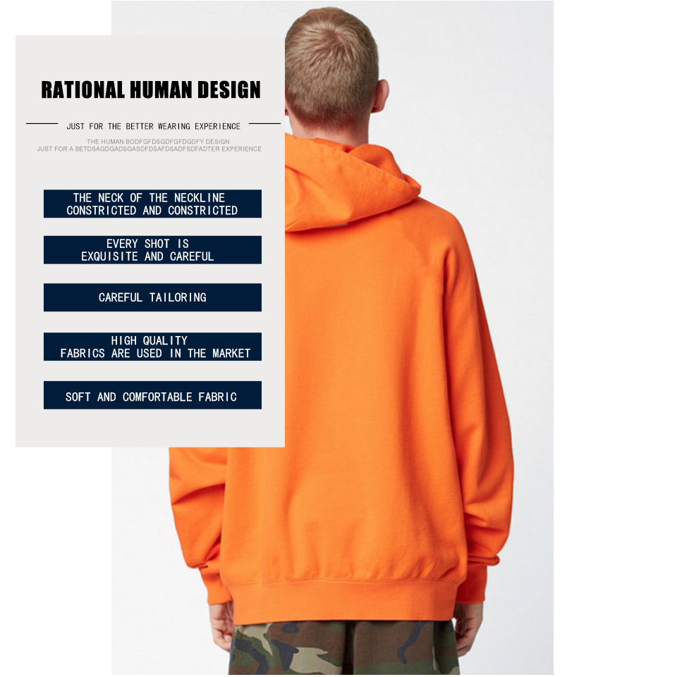 17 fashion color orange hooides men's thick clothes winter sweatshirts men Hip Hop Streetwear solid fleece hoody man Clothing 5