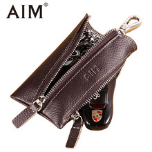AIM Best Genuine Leather Key Wallet Men Vintage Keychain Cover Retro Zipper Keys Case Man Car Key Holder Housekeeper Coin Purse