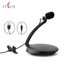 ITSYH Microphone Aux/USB plug Goose Neck Mini Desktop Stereo Recording Condenser Microphone Adjustable Portable Mic PC TW-822