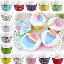 100Pcs Round Shape Paper Muffin Cases Cake Vintage Polka Dot Cupcake Liners Paper Cupcake Baking Cups J2Y