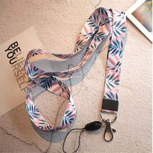 Small Fresh Leaves Tags Strap Neck Lanyards for keys ID Card Pass Gym Mobile Phone USB badge holder DIY Hang Rope Lariat Lanyard(China)