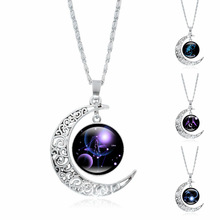 XUSHUI XJ Crescent Moon Necklace 12 Constellation Art Glass Cabochon Pendant Fashion Jewelry Silver Chain Necklace Women Gifts