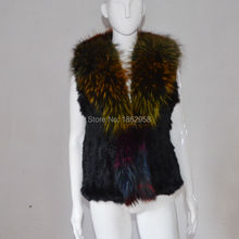 SJ370 Factory Sale Raccoon Colorful Collar Rabbit Knitting Gilet Vest S-XXXL