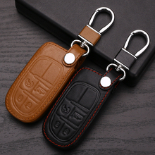Genuine Leather Car Keychain Key Case Cover For Jeep Grand Cherokee Compass Patriot Dodge Journey Chrysler 300C Car Key Rings