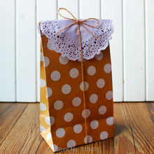 kraft Polka dot paper bag set, Party, Lolly,Favour, Wedding, Packaging, 10set/lot