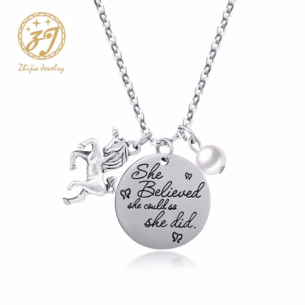 """Zhijia Jewelry 316L Stainless Steel Letter Tag Necklace""""She Believed She Could So She Did""""With Horse And Pearl Pendant Free Ship"""