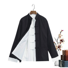 Cotton Linen Vintage Full Sleeve Men's Skirts Mandarin Collar Chinese Kung Fu Loose Clothing Black Tai Chi Top M-4XL