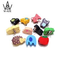 12pcs Wooden Animal Brooch Fashion Cartoon Children Cute Kids Gift Handmade Ornament Novel Prize say hi 03262