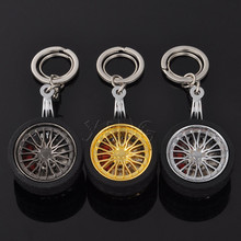 Fashion Metal Keychain For BMW Audi VW Honda Toyota BBS wheel hub Rim Model Car Key Chain Ring Auto Mini Creative Tires Keyring(China)