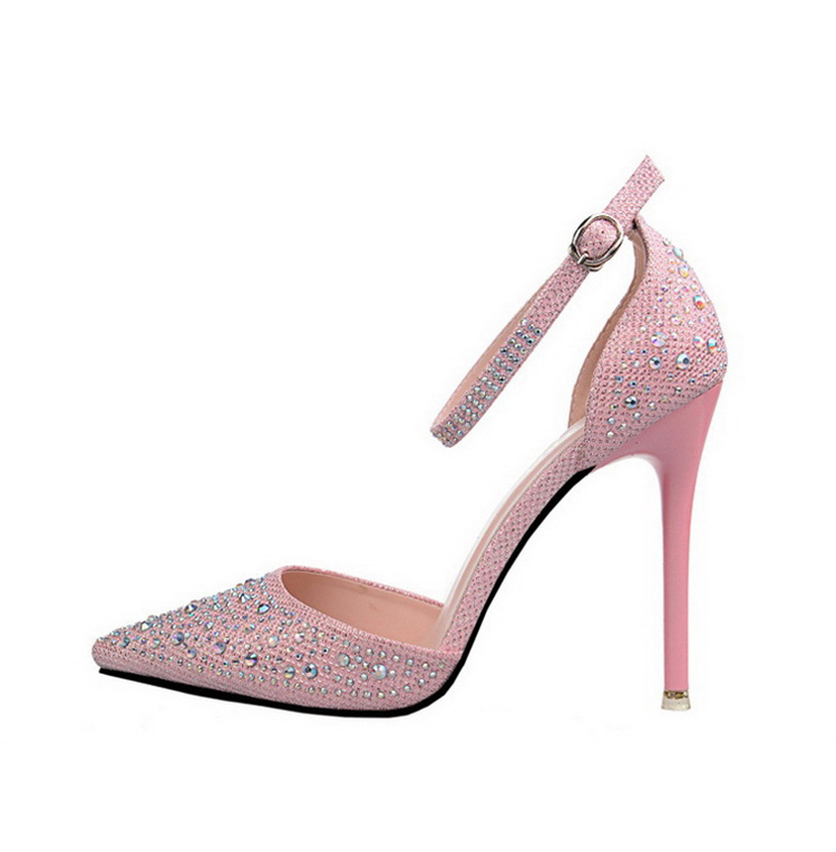 Women Pumps Sexy High Heels Shoes Woman Silver Rhinestone Wedding Shoes High Heels Party Shoes Summer Hight Heels Sandals 21