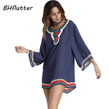 BHflutter Short Dress Women New Style 2018 Half Sleeve Embroidery Bohemian Dress Cotton Linen Casual Summer Dresses Vestidos(China)