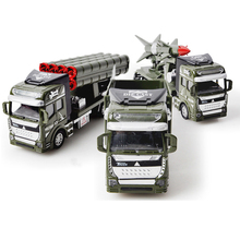 Pull Back Military Transporter Truck Rocket Missile Car Model Engine Vehicles Car Educational Toys for Boys(China)
