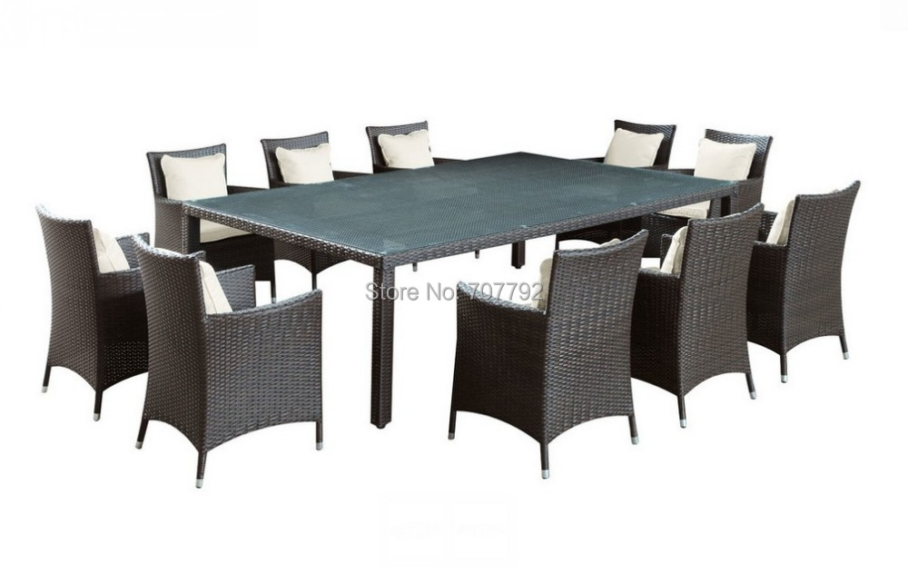 2017 Bella Vista Outdoor Wicker Dining Table and Ten Chair Set China Compare Prices on Outdoor Wicker Dining Tables  Online Shopping  . Outdoor Dining Table 10 Seater. Home Design Ideas