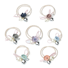 Women Girls Hair Band Jewelry Accessories Elastic Rubber Bands Headdress Crystal Pearl Beads Lace Flowers Decorations Headband
