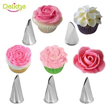 Delidge 5Pcs/Set Rose Petal Metal Cream Tips Cake Decorating Tools Icing Piping Nozzles Cake Cream Decorating Cupcake Tools(China)