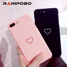 Love Heart Painted Phone Case For iphone 8 Case Pink Black Back Cover Hard PC Couples Cases For iphone 8 7 6 6s Plus SE 5 5s(China)