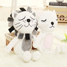 Prmotion Toy 40cm Cute Cat & Lion Plush toys Baby Kids Animal Rabbit Sleeping Comfort Stuffed Doll Plush Toy Christmas Gifts