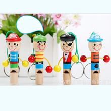 New Mini Pirate wooden whistle musical toys colorful developmental toy gift Baby lovely children toy doll key instrument