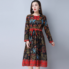 2017 Spring Women dress Print Slim National Wind Ramie Cotton Draw String Waist Dish Buckle Big Pendulum Dresses Oracle 8306(China)
