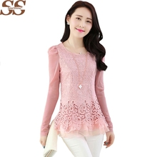 2017 New Fashion Ladies Blusas Women's Long Sleeve Chiffon Lace Crochet Tops Blouses Women Clothing Feminine Blouse(China)