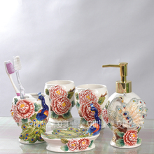ceramic peacock toothbrush holder soap dish bathroom accessories set kit wedding gifts crafts home decor porcelain figurines(China)