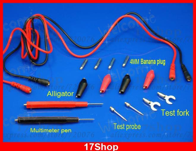 1 set SMD Fork Alligator 4MM BANANA PLUG Test Probe Clamp Meter MULTIMETER PEN<br><br>Aliexpress
