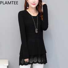 PLAMTEE Maternity Sweater Elegant Hollow Clothes For Pregnant Lace Stitching Stripes Women Pullover Long Warm Lady Tops Autumn(China)