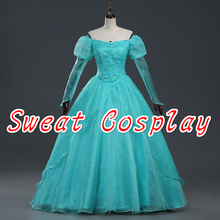 High Quality The little Mermaid Princess Ariel cosplay costume Halloween costume for adult Ariel princess dress custom made