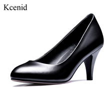 Kcenid Hot sale women pumps classic design 5.5cm 6.7cm 8cm spike heels black shoes genuine leather round toe office lady shoes