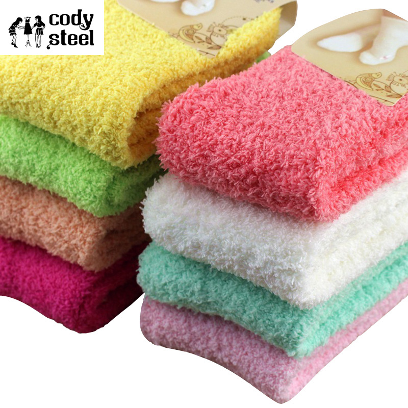 Cody Steel Winter Womans Socks Thicken Coral Cashmere Girl's Socks Casual Warm Ladies Socks 3pairs/lot(China (Mainland))