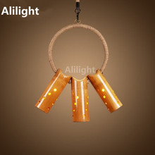 American Vintage Pendant Lights Loft Style Hemp Rope Bamboo Pendant Lamps Home Dining Room Hanging Lamp Indoor Lighting Fixtures