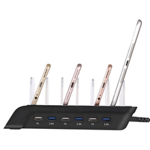 6-Port USB Charger Mobile Phone Charging Station 2.4A*3 1A*3 Smart IC Charger Multi-Device HUB Charging Dock(US Plug) For iphone(China)