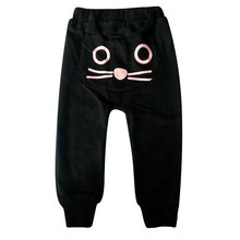 Spring and Autumn Children's Fashion Haren Pants Baby Boys Girls Cotton Cute Cat Pattern Long Trousers Kids Soft Lovely Bottoms