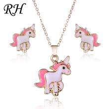 Pink Horse Unicorn Jewelry Sets For Women Girl Animal Unicorn Decoration Earrings Kits Necklaces Costume Wedding Accessories(China)