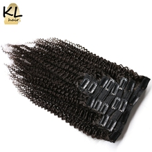 KL Hair Brazilian Kinky Curly Hair Clip in Human Hair Extensions Remy Hair Clip-ins Full Head 8Pcs/Set Free Shipping(China)