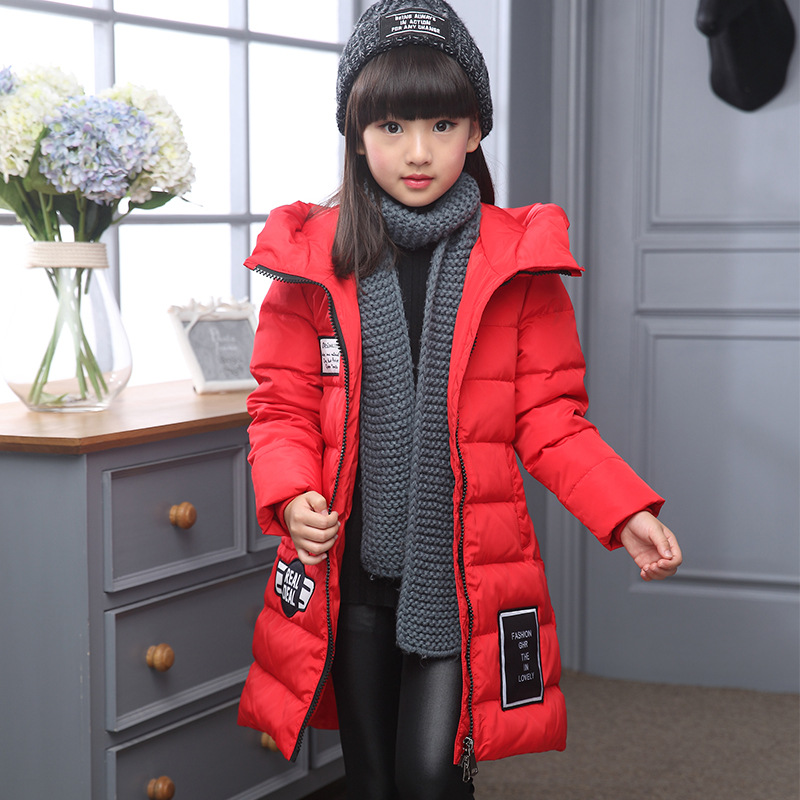 2017 Girl Winter Childrens Down Jacket Fashion Slim Long  Hooded thick Warm Down &amp; Parkas Одежда и ак�е��уары<br><br><br>Aliexpress