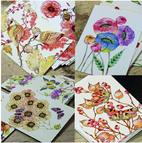 22pcs/lot Cute Hand Painting Birds and Flowers Fresh Watercolor postcards Wedding Invited Cards Celebrating Congratulation card(China)