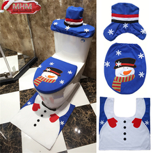 Christmas Hot Sell Santa Claus Toilet Seat Cover and Rug Bathroom Set Christmas Decorations For Home 1set Blue