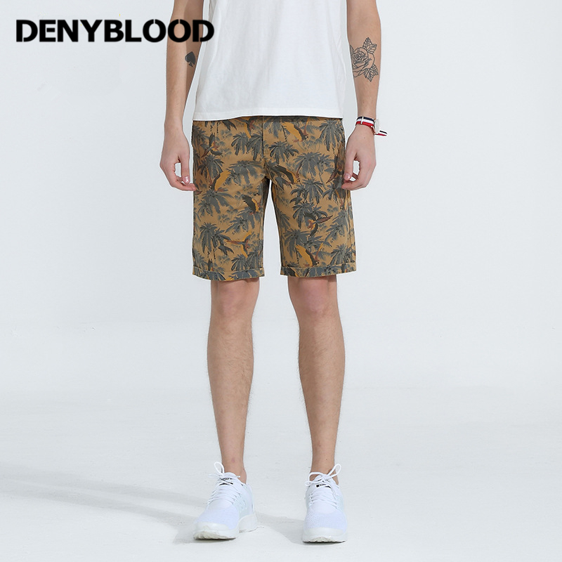 Denyblood Jeans Mens Shorts 2018 Summer New Arrival Print Chinos Stretch Cotton Capris Beach Short Bermuda 2201D
