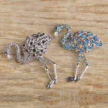 Cool Brooches Wholesale Animal Brooch With Pins For Kids Women Large Crane Broche Rhinestone Christmas Gift Cardigan Pin Bijoux
