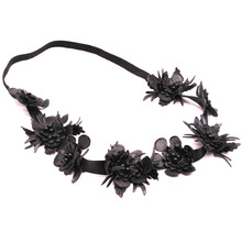 Metting Joura Black Flower Leather Headband Fashion Bohemian Elastic Hairband New Hair Accessories