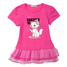 Beautiful and soft baby girl clothes dresses 2017 new cotton original design Birthday party dress lovely cat cotton t shirt cute(China)