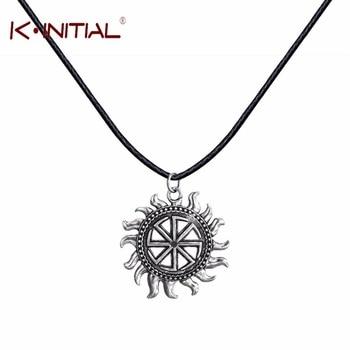 Kinitial 1Pcs Silver Slavic Kolovrat Pendants Necklaces Sun Fire Slavic Amulet Black Leather Chocker Necklace Men Gift Jewelry