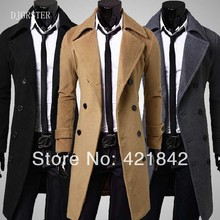 DJGRSTER  arrival men's wool coat medium-long male thickening cashmere larrge outerwear winter trench plus size M -2XL