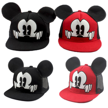 Hot Mesh Hat Mickey Ear Caps Children Hats For Girls Prop Newborn Cap Baseball Caps With Ears Spring Summer Autumn Sun Hat(China)